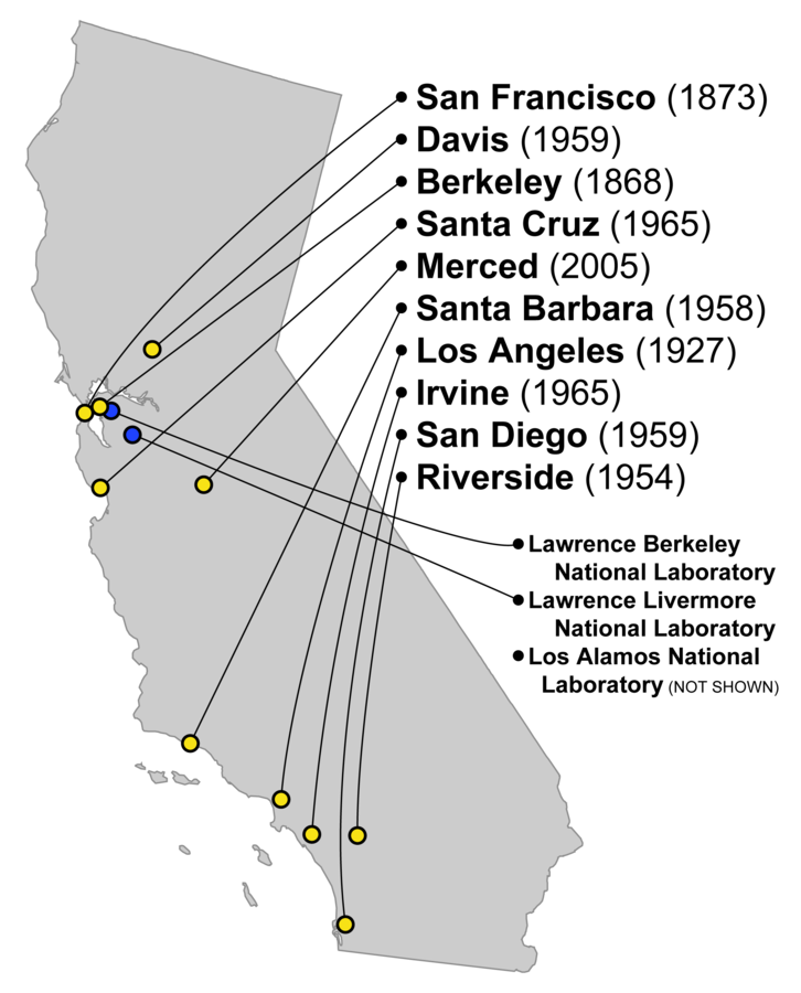 University of California Campuses and Labs.