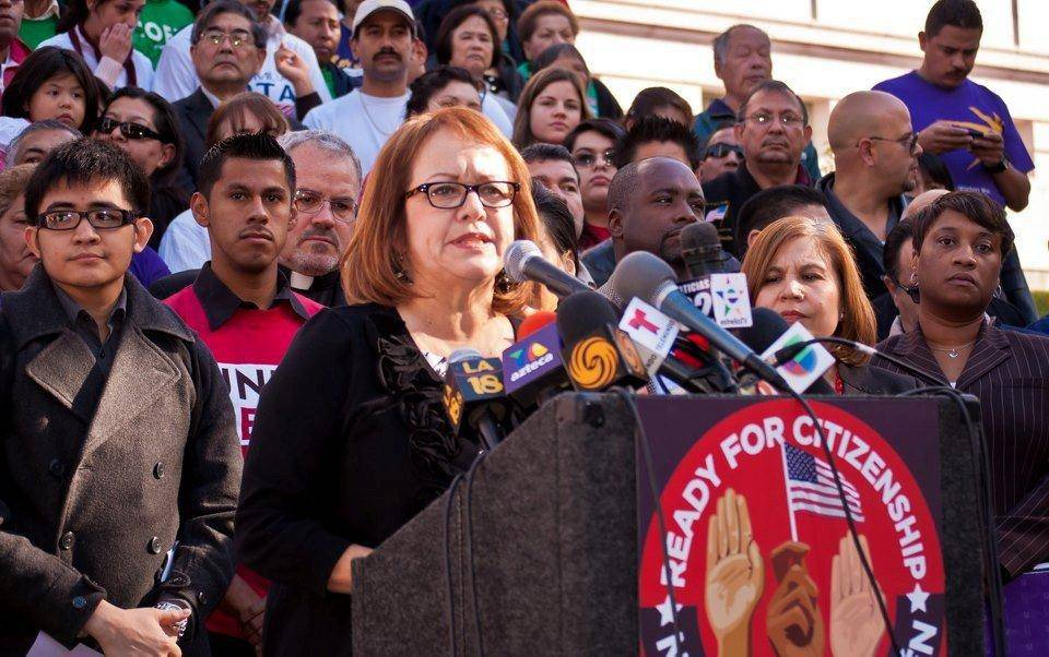 Maria Elena Durazo at California for a Path to Citizenship rally.