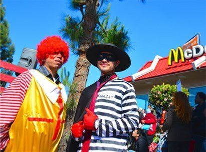 Street theater at McDonald's protest.