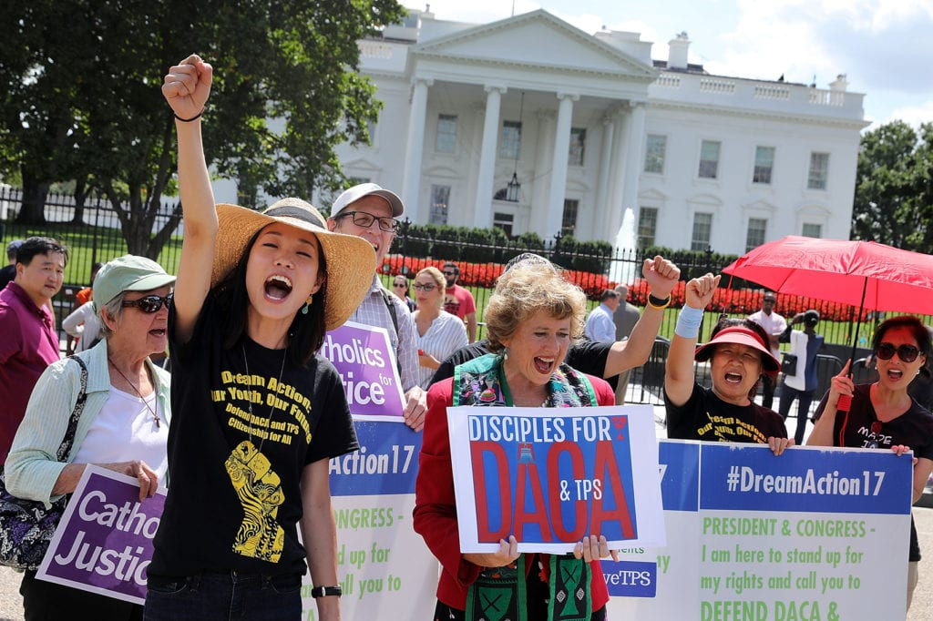 WASHINGTON, DC - AUGUST 30: A demonstration in favor of immigration reform in front of the White House August 30, 2017 in Washington, DC. (Photo by Chip Somodevilla/Getty Images)
