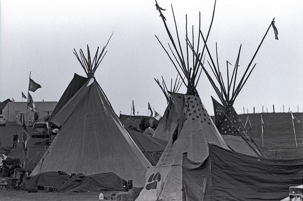 Lakota Sioux tepees at the Oceti Sakowin Camp.