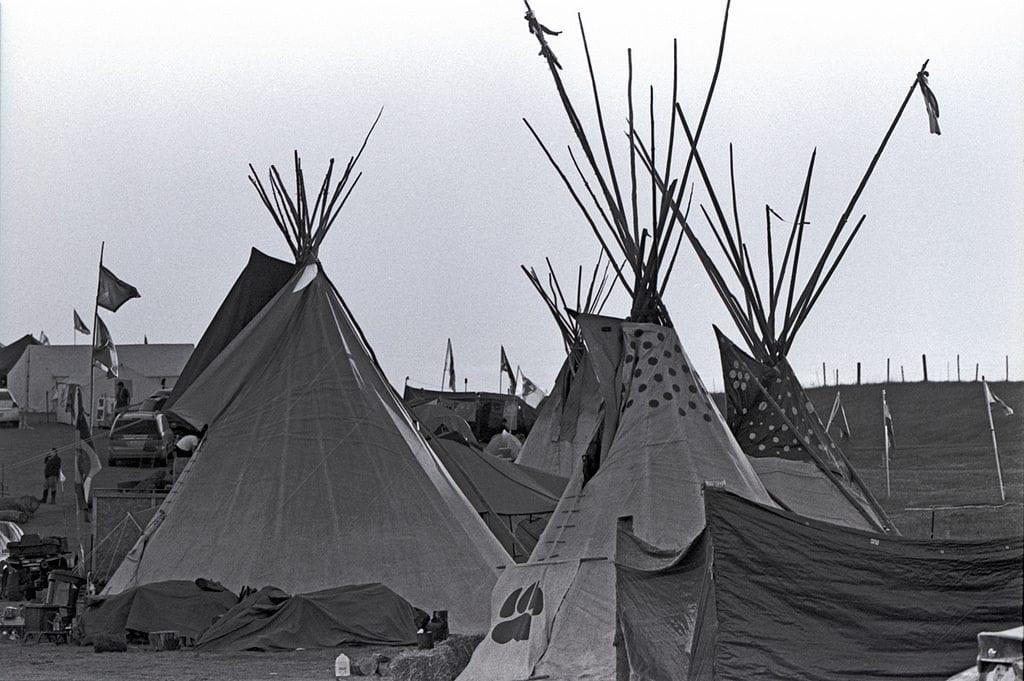 Lakota Sioux tepees at the Oceti Sakowin Camp.