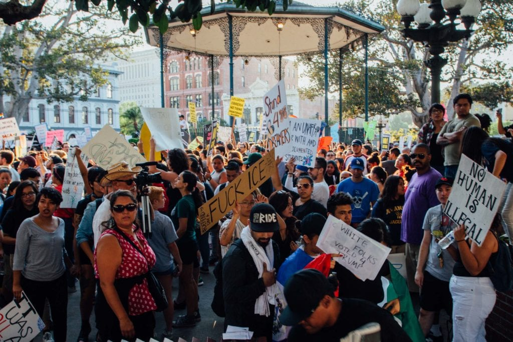 Protestors prepare to march towards City Hall from Placita Olvera in downtown Los Angeles.