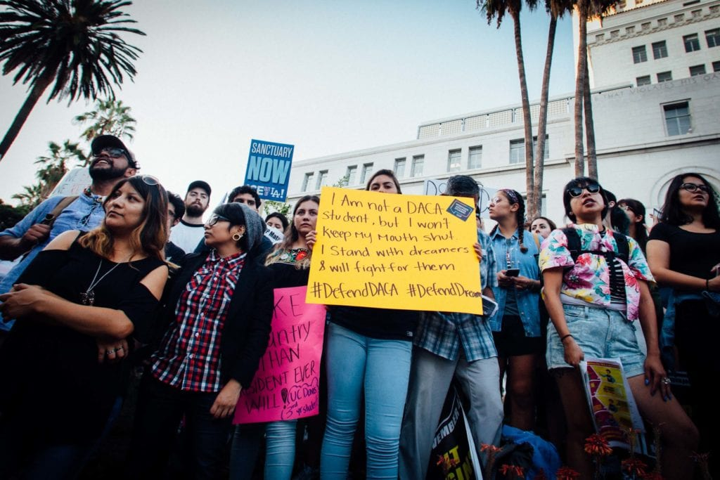 Many protestors came out in support of Dreamers and DACA at the rally at City Hall in downtown Los Angeles.
