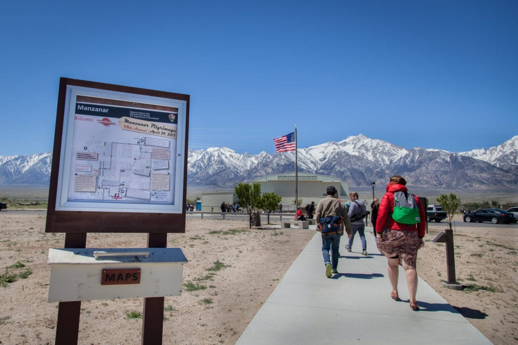 On April 30, 2017, the 48th Manzanar Pilgrimage took place, marking the 75th anniversary of Executive Order 9066, which authorized the forced removal of Japanese-Americans. Manzanar was the first concentration camp created by FDR's order, and was located in a valley below the Eastern Sierras. Photo by Joanne Kim