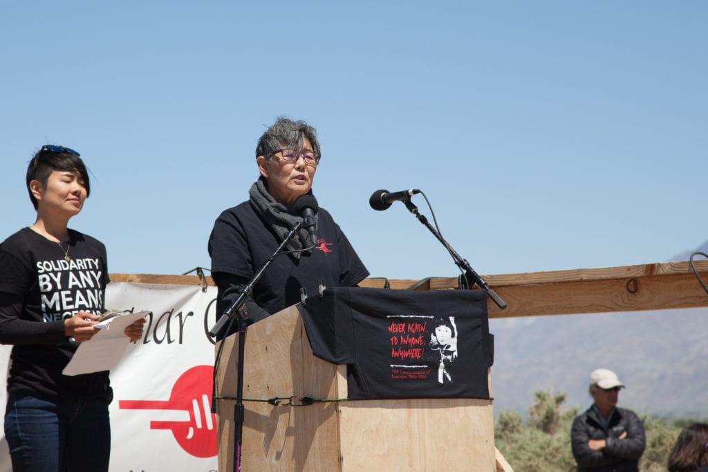 Activist Pat Sakamoto, co-host of the 48th Manzanar Pilgrimage, whose mother was incarcerated at Manzanar. Photo by Joanne Kim