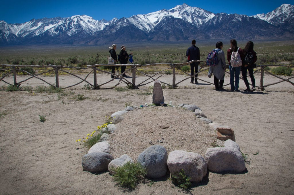 146 incarcerees died at Manzanar. Most were cremated, and their ashes were buried here or sent to hometown cemeteries. Six graves remain, most reburied elsewhere by their families. Photo by Joanne Kim