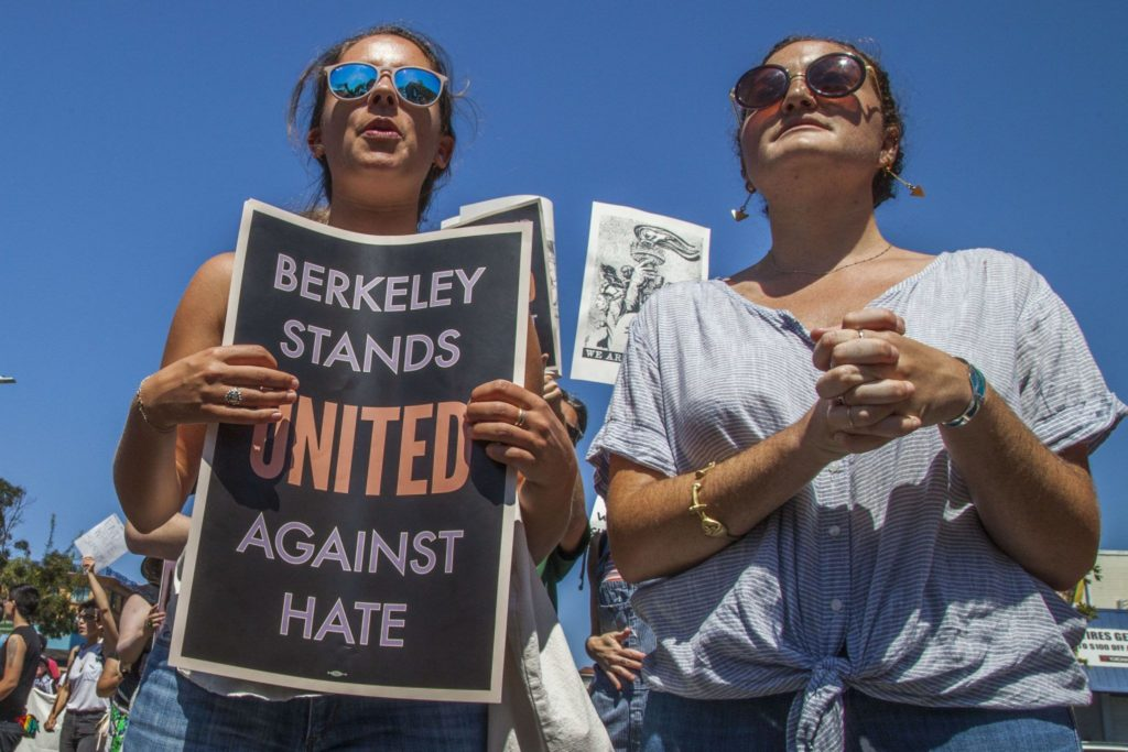 March protesting a planned rally by Nazis and racists in Berkeley