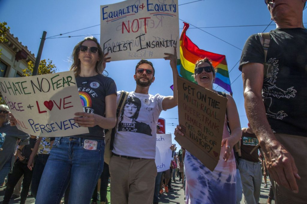 March protesting a planned rally by Nazis and racists in San Francisco
