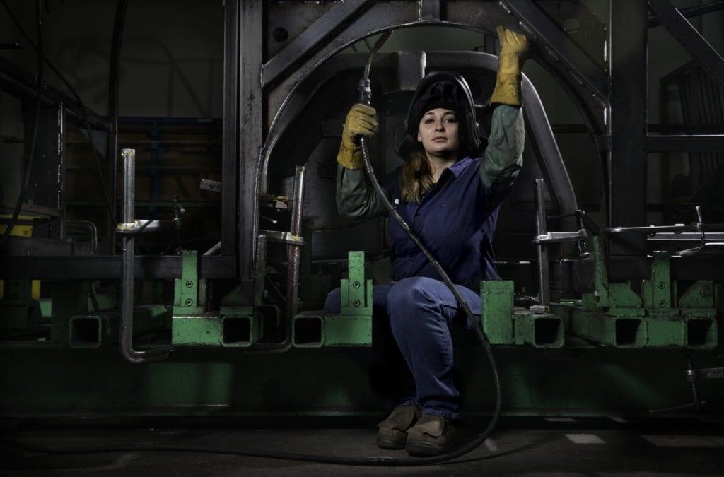 Welder, New Flyer bus factory. (Photo: Deanne Fitzmaurice)