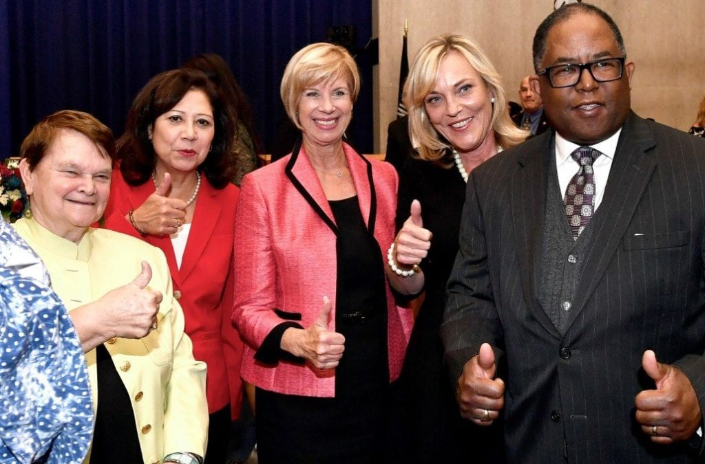 L.A. Board of Supervisors (l-r:) Sheila Kuehl, Hilda Solisa, Janice Hahn, Kathryn Barger and Mark Ridley-Thomas
