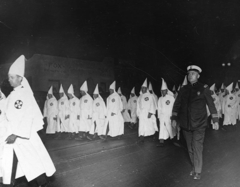 Undated photo of KKK march, possibly in Santa Barbara.