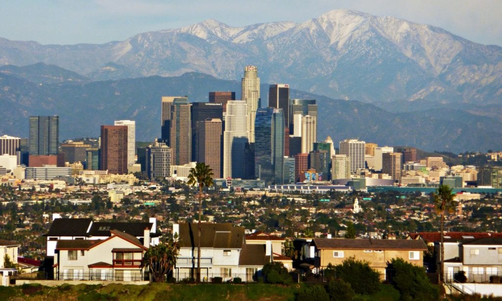 View of Los Angeles skyline from Kenneth Hahn State Recreation Area. Photo via BDS2006 at English Wikipedia.
