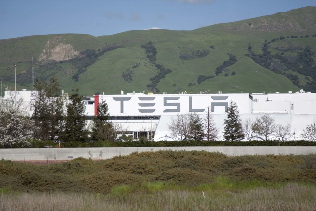 Today's car industry: Tesla's nonunion Fremont Plant. (Photo: Cindy Chew)
