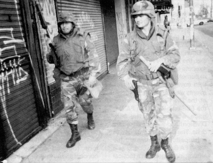 May, 1992: California National Guard patrolling Los Angeles.