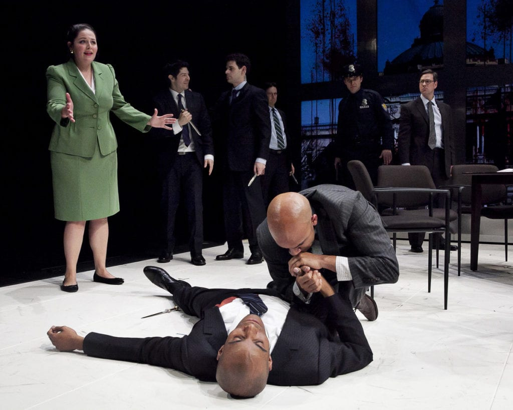 The assassination of an Obama-like Caesar in the Guthrie Theater's 2012 production.  (Photo: Heidi Bohnenkamp)