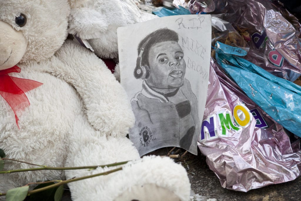 A memorial for Michael Brown Jr. in Ferguson, MO. Photo courtesy of Magnolia Pictures.