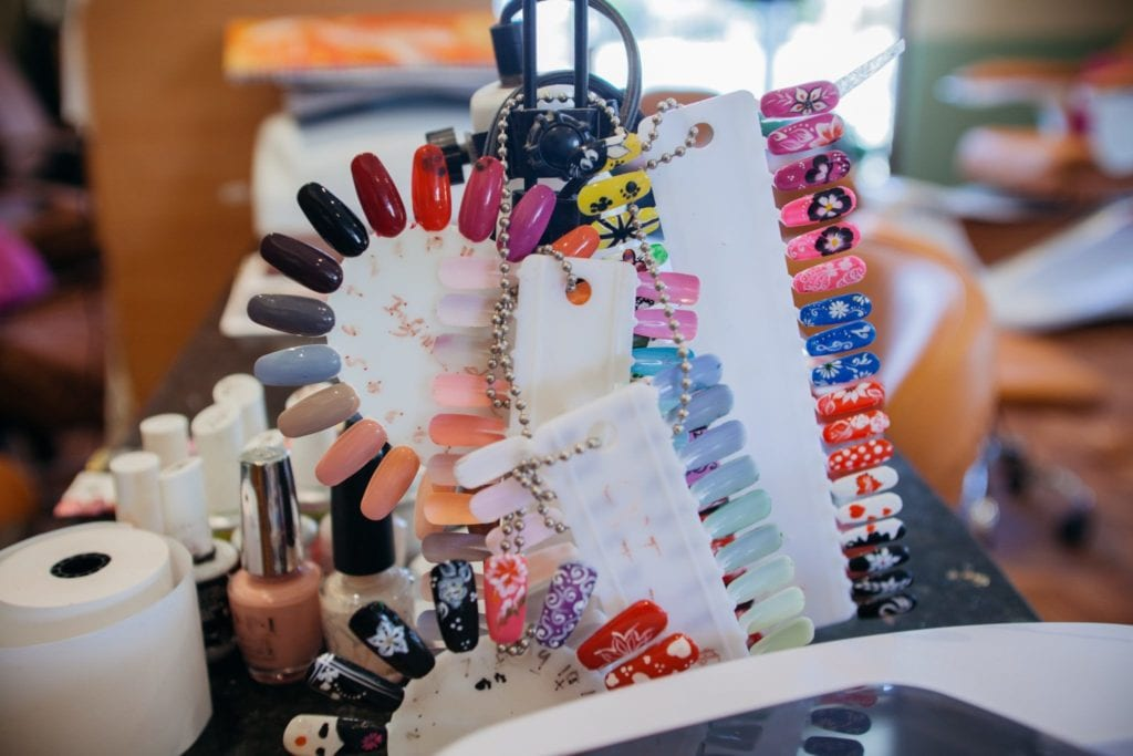 Gel manicure samples at the Santa Monica Beach Nail Spa.