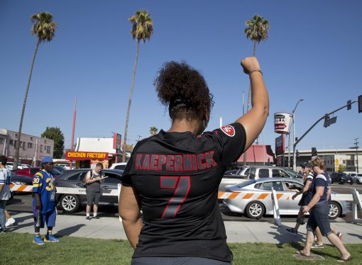 Colin Kaepernick Supporters Rally in Protest at the LA Coliseum