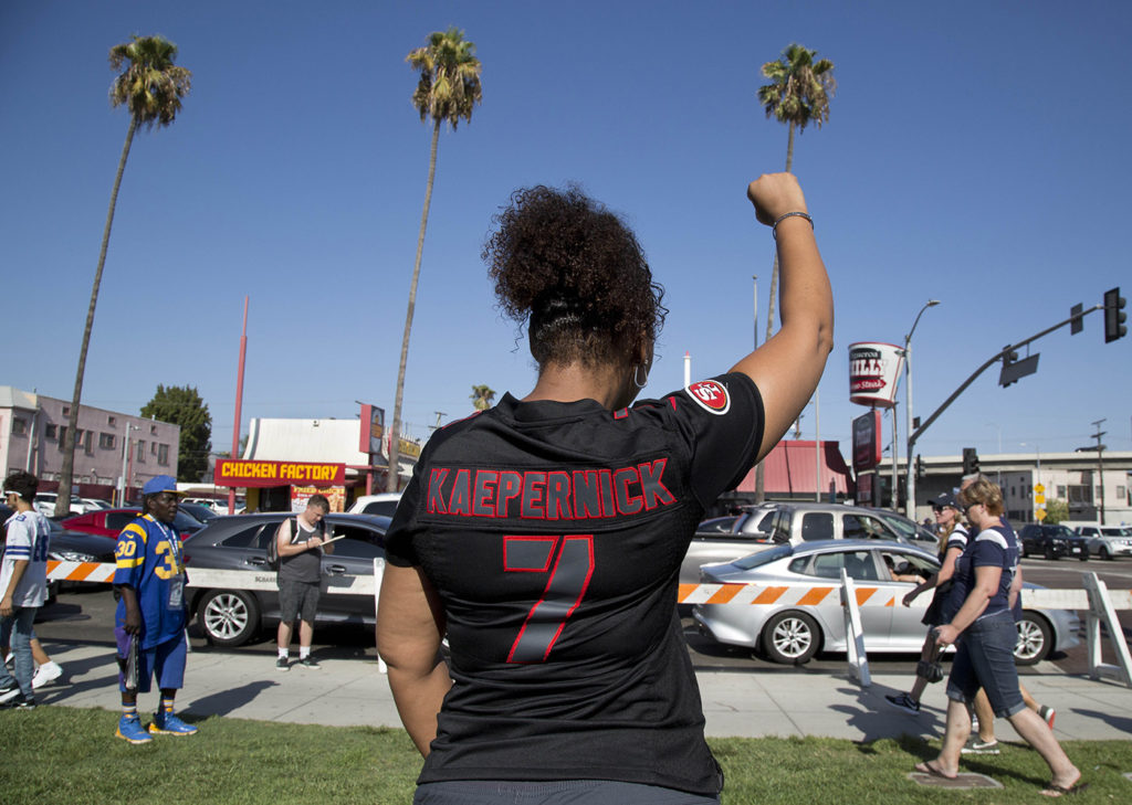Erika, 49, at a protest in support of Colin Kaepernick outside the L.A. Coliseum