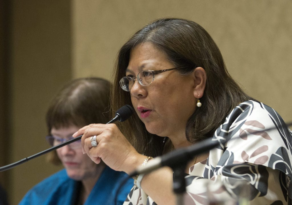 In this June 28, 2016, file photo, California Controller Betty Yee listens during a meeting in Sacramento, Calif. (AP Photo/Rich Pedroncelli, File)