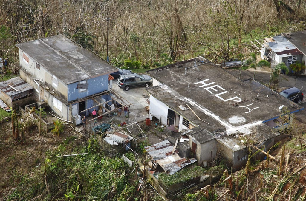 A home in Puerto Rico with the word 'HELP' painted on its roof, Sept. 24, 2017. (Photo: U.S. Customs and Border Protection )