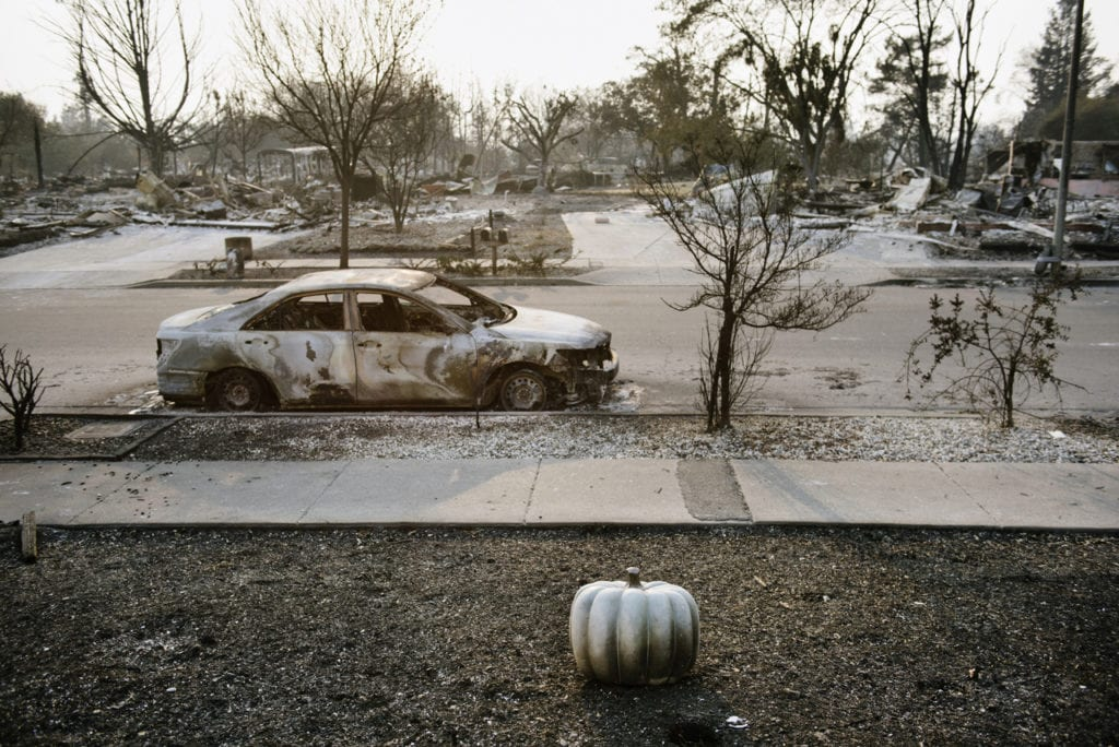 The Coffey Park neighborhood damaged by the Tubbs Fire in Santa Rosa, Calif, on Monday October 16, 2017.
