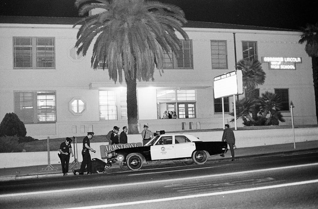 Police in front of Lincoln High School. (La Raza/Chicano Studies Research Center at UCLA)