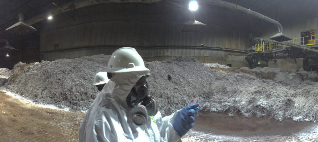 View inside the Reverb Furnace Feedstock Room during a site visit of the Exide Technologies' Vernon, Calif. facility by the Department of Toxic Substances Control