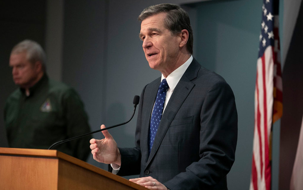 North Carolina Gov. Roy Cooper during a press briefing on the COVID-19 crisis on April 28, 2020