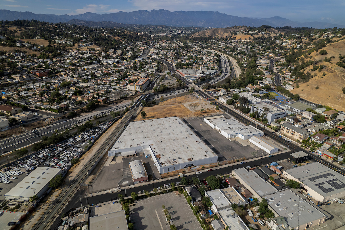 Aerial view of the site of the proposed Avenue 34 Project development in the densely-populated neighborhood of Lincoln Heights.